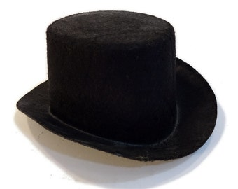 "5 1/2"" Black Mini Flocked Felt Top Hats"