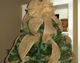 on sale burlap christmas tree topper bow full tree sized rustic topper shabby