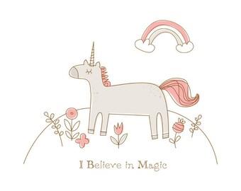 Magic Unicorn print - 8 x 10 inch - Giclee Art Print