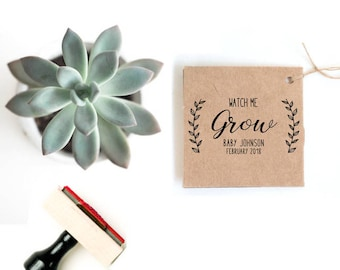 Watch Me Grow Tags Stamp | Succulent Baby Shower Favor Tag | Rustic Baby Shower Favor | Succulent Baby Shower Tag | Personalized Plant Tag