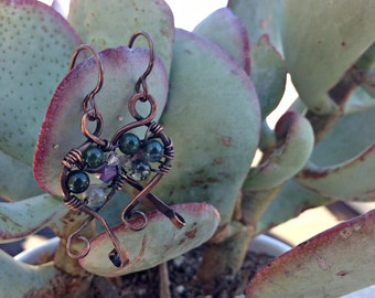 Force of Love Earrings handmade copper gemstone and crystal earrings ooak green jasper niobium ear wires