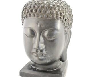 """Large Buddhist Statue - Bronze Buddha Head Bust, 12"""" tall, 17.5 pounds"""