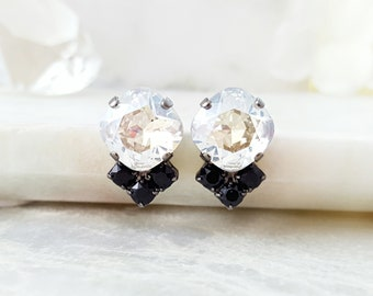Black Crystal Earrings - Cushion Cut Diamond Earrings - Black Tie Earrings - Black White Earrings Swarovski - Jet Rhinestone Jewelry E3910