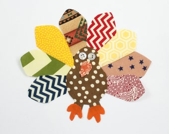 Thanksgiving Turkey Iron On Applique, DIY Thanksgiving Onesie, T-shirt, Pillow Case, Placemat