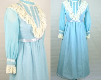1960s Pale Blue and White Lace Victorian Revival Long Sleeve, Tea Length Dress