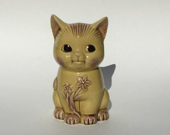 Vintage Yellow and Pink Cat Planter