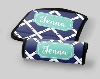 Personalized Luggage Wrap - Navy Bamboo Cross - Luggage Accessories Travel Accessories Gifts for Her Monogrammed Gifts Personalized Gifts