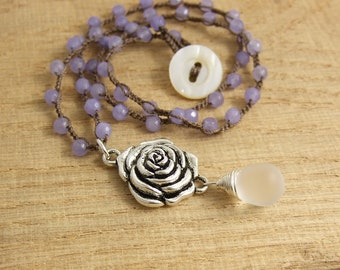 Crocheted Necklace with a Brown Cord, Faceted Light Purple Jade Beads, a Pewter Rose Pendant and a Frosted Glass Teardrop SN-399