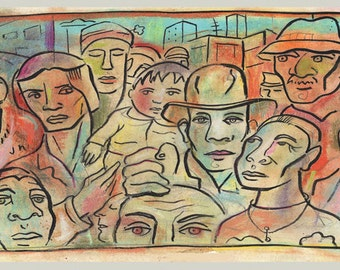 Crowd, group of people, hand finished print