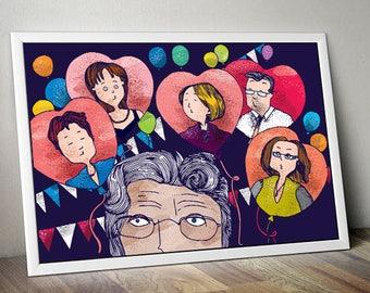 Grandma. Family. Celebrating. Print A3.