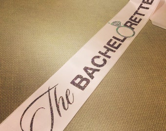 "Blush pink ""The BACHELORETTE"" sash with confetti glitter vinyl design."
