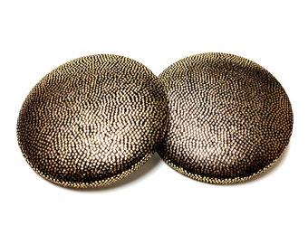 Extra Oversized Gold Metallic Print Button Earrings