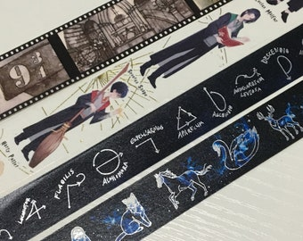 4 Rolls of Limited Edition Washi Tape: Harry Potter Magical Hogwarts  and Patronus Charm