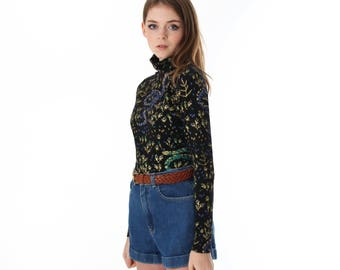 Turtleneck - Hand Printed - Organic Cotton - Floral Turtleneck - Handmade - Snake Print  - Gift for Her - Eco Fashion - Thief and Bandit®