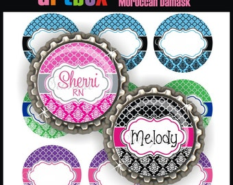 Editable Moroccan Damask Bottle Cap Images - Printable 4x6 Digital Collage Sheet - BottleCap One Inch Circles for Badge Reels, Hair Bows