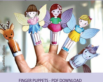 PRINTABLE Forest Creatures Finger Puppets | PDF download | Woodland animals, forest animals, fairy puppets, paper play, paper dolls