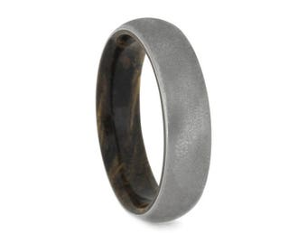 Deep Frosted Titanium Ring, Sindora Wood Wedding Band, Exotic Wood Ring For Men or Women