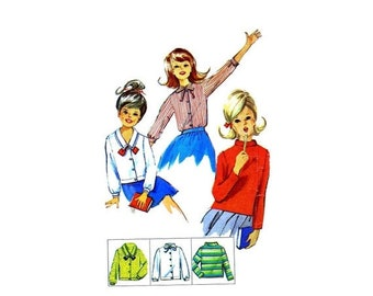 SALE 1960s Girls Blouses Simplicity 6067 Vintage Sewing Pattern Blouse with Bias Roll Collar Long or Short Sleeves Size 8 Breast 26