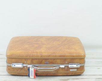 Vintage 1970s  Suitcase American Tourister Luggage Caramel Color Travel Overnite