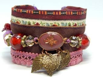 Garnet suede Cuff Bracelet