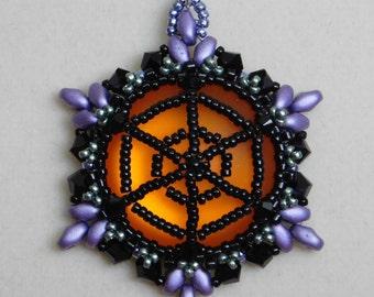 Bead, Pendant, Tutorial, Beadweaving, Pattern, Lunasoft, Jewelry, Halloween, Spidelr Web, Superduo, Czechmates, DIY, PDF, Digital Download