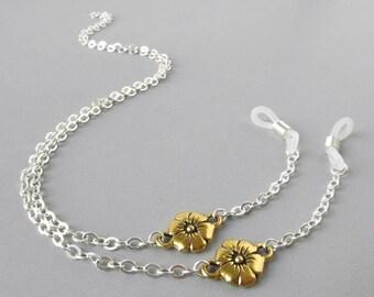 Silver Eyeglass Holder - Gold Flowers - Reading Glasses Chain - Sunglasses Chain - Eye Glass Chain - Eyeglass Leash - Womens Eyeglass Chains