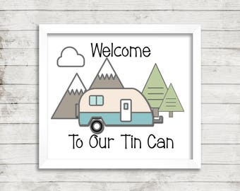 Travel trailer sign - Camping sign - Camper decor - PRINTABLE - Travel trailer decor - Glamping decor - Camper welcome sign