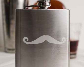Mustache 2 Customizable Etched Stainless Steel Flask Barware Gift