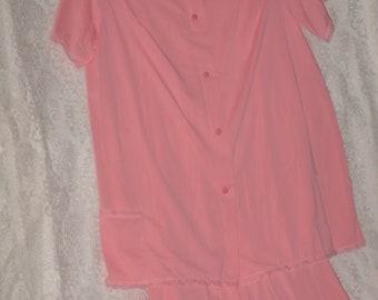 Pink Nylon Pajamas Button Front Top Lounge Pants Loungewear Size M Vintage Shadow Line