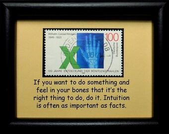 X-Ray, Wilhelm Conrad Rontgen 1845-1923 Germany -Handmade Framed Postage Stamp Art 0820W