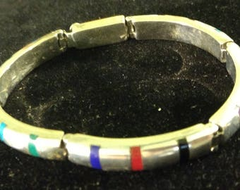 Vintage Taxco Mexico TS-87 Sterling Silver and Inlaid Multi-stone Hinged Bracelet