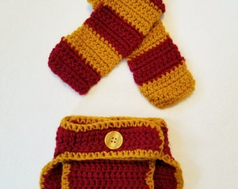 Crochet Newborn Baby Harry Potter Gryffindor Diaper Cover and Scarf Photo Prop