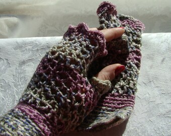 Crocheted delicate fingerless ladies texting gloves in lavender, gray and green heathers