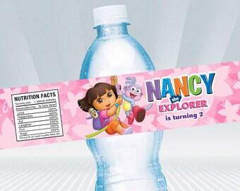 Dora The Explorer  Water Bottle Label