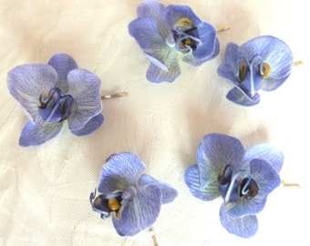 Delphinium blue Orchid hair fascinators mini real touch phalaenopsis orchid hair clips bridal hair clip tropical fascinator
