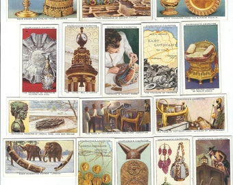 Old TREASURE TROVE 16 Tobacco Cards Churchmans Cigarettes Relics Artifacts - 1937 Cigarette Card Vintage Advertising Litho Trade Card  CC36