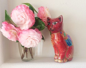 Vintage cat figurine/Mexican painted cat statue