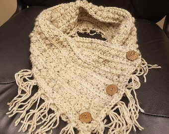 Malia Buttoned Cowl with wooden buttons