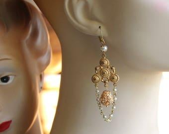 Art Nouveau earrings, vintage filigree assemblage, boho brass dangles, glass pearls, hand assembled in France chez Sylvie/153