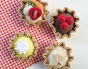 Felt Food Pretend Play Tea Party Tarts, Play Kitchen, Modern Play Food, Lemon Meringue, Choc Raspberry, Fruit Custard, Apple Tart