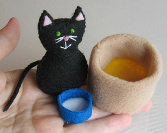 Black Cat stuffed animal plush felt play set with bowl of milk and fleece and felt cat bed