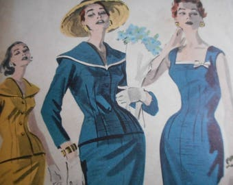 SALE Vintage 1950's Butterick 8033 Dress and Jacket Ensemble Sewing Pattern Size 12 Bust 32