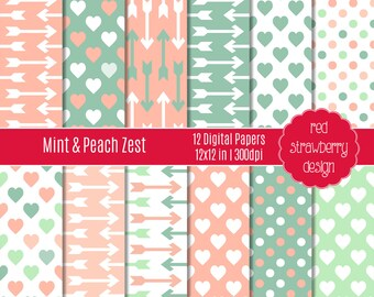 75% OFF Sale - Mint & Peach Zest - 12 Digital Papers - Instant Download - JPG 12x12 (DP206)