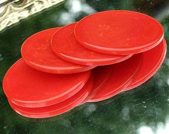 Red Estate Vintage Bakelite Lot 4 Charms Marbled Poker Chips Art Deco Antique Catalin Jewelry Making Supply Earrings Pendants Early Century