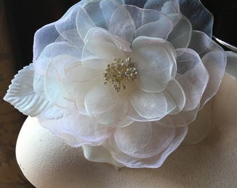 Pink Blush Silk Rose for Bridal, Millinery, Sashes, Garments