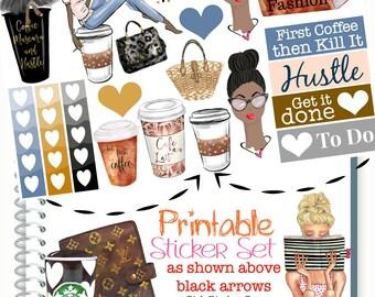 Planner Stickers, African American Dark Skin Tone Girl, Happy Planner Stickers, Starbucks Coffee Stickers, Recollections Planner Stickers