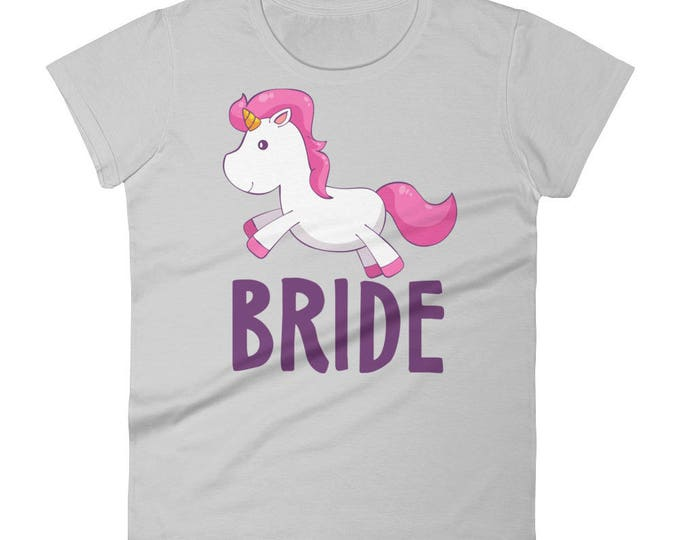 Bride, Unicorn Bride Women's short sleeve t-shirt, Bride Wedding T-Shirt