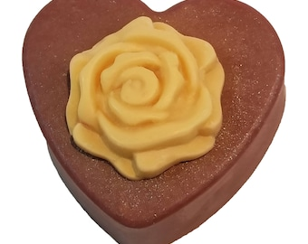 Heart With Rose Soap-Wedding Soap-Rose Soap-Flower Soap-Valentine Soap-Mother's Day Soap-Anniversary Soap-Glycerin Soap-Heart Soap