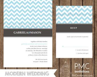 Custom Printed Chevron Wedding Invitations - 1.00 each with envelope