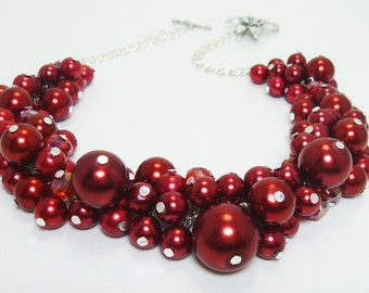 Red Pearl Necklace, Red Cluster Necklace, Red Chunky Necklace, Red Bridesmaid Jewelry ,Red Pearl Necklace, Red Wedding Necklace, FREE SHIP